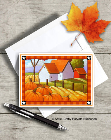 Printable Country Pumpkins Card kit, PDF Instant Download