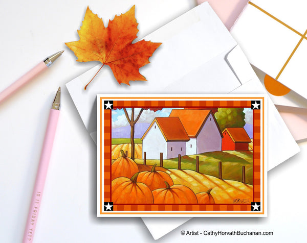 Country Pumpkins Printable Card kit, PDF Instant Download by Cathy Horvath Buchanan
