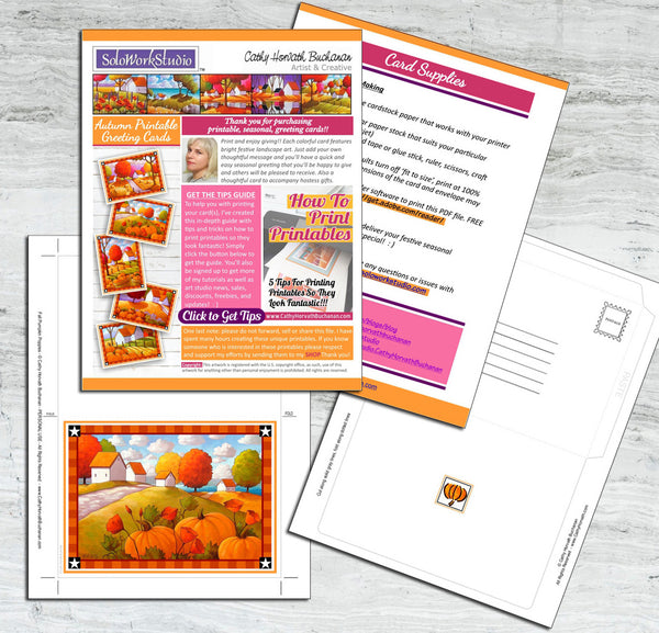 Printable Card Kit Pumpkin Poppies, PDF Instant Download