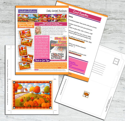 pages from downloadable fall greeting art card kit