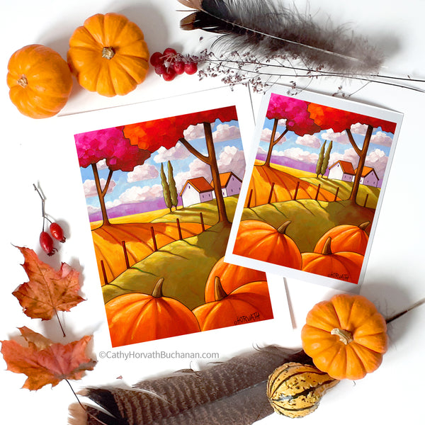 Pumpkin Landscape Trees - Art Print flat lay