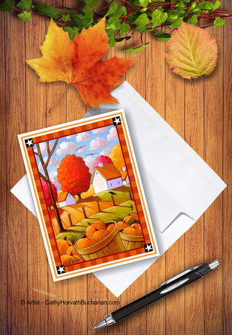 Printable Fall Crow Pumpkins Card kit, PDF Instant Download