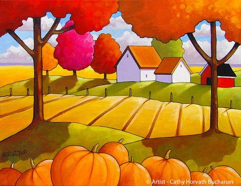 Thanksgiving Autumn Pumpkins Folk Art Print, Halloween Fall Farm Country