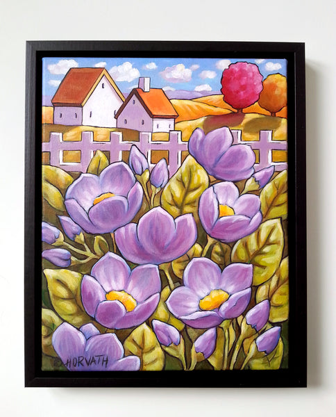 Purple Fenced Country Blooms, Framed Original Painting, Flower Garden Folk Art Landscape 11x14