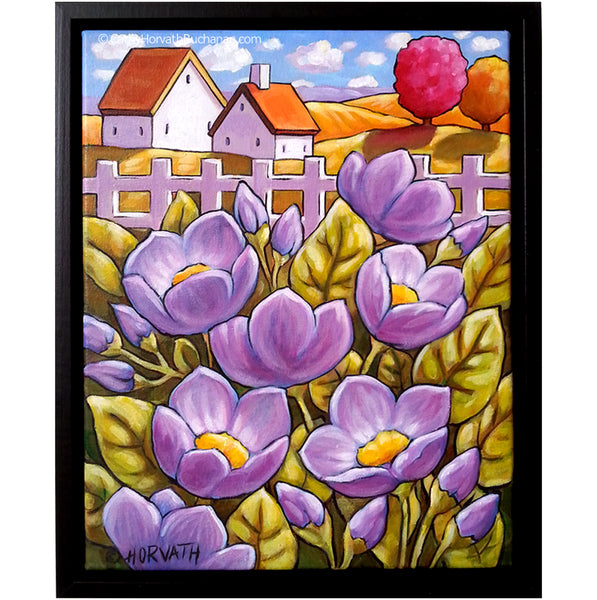 Purple Country Blooms, Framed Original Painting, Flower Garden Landscape 11x14 by artist Cathy Horvath Buchanan