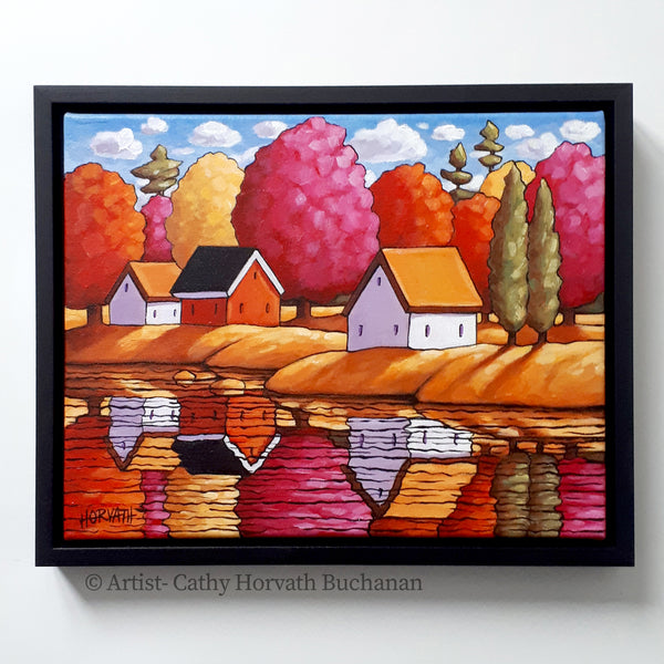 Red Trees River Reflection Framed Original Painting, Waterside Colors 11x14