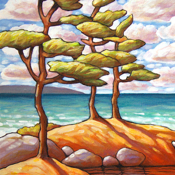 detail view of Red Canoe Water View, Framed Original Painting 12x16 by artist Cathy Horvath Buchanan