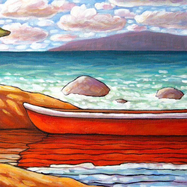 detail view Red Canoe Water View, Framed Original Painting 12x16 by artist Cathy Horvath Buchanan