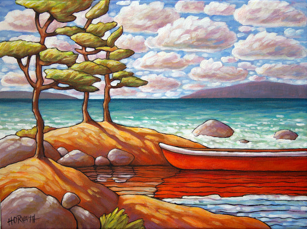 Red Canoe Water View, Framed Original Painting 12x16 by artist Cathy Horvath Buchanan