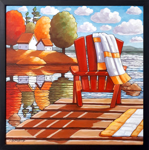 Red Deck Chair Water View Framed Original Painting, Seascape 18x18 by artist Cathy Horvath Buchanan