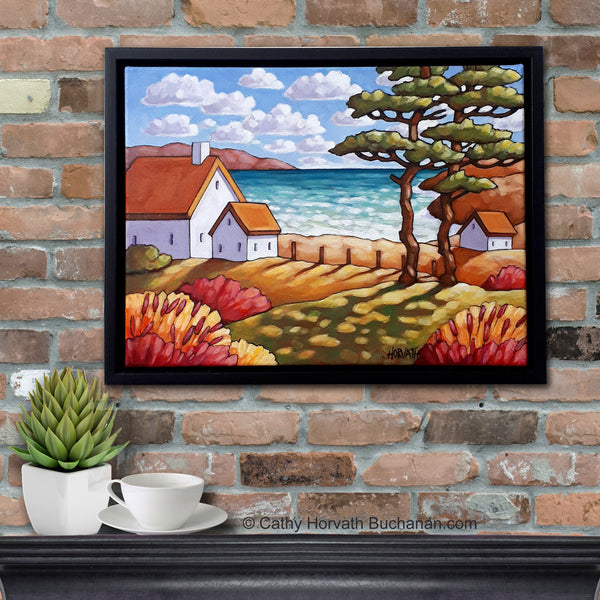 Seaside Garden Summer Cottage Framed Original Painting, Folk Art Coastal View 12x16