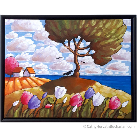 Seaside Three Crows Tree Framed Original Painting, Coastal 14x18 by artist Cathy Horvath Buchanan