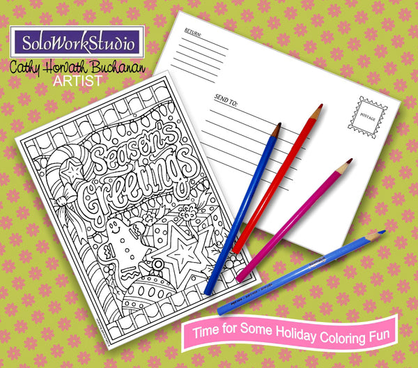 Seasons Greetings Coloring Card Kit, Festive Christmas Card + Envelope, Adult Coloring PDF Instant Download, Illustration Printable Digital
