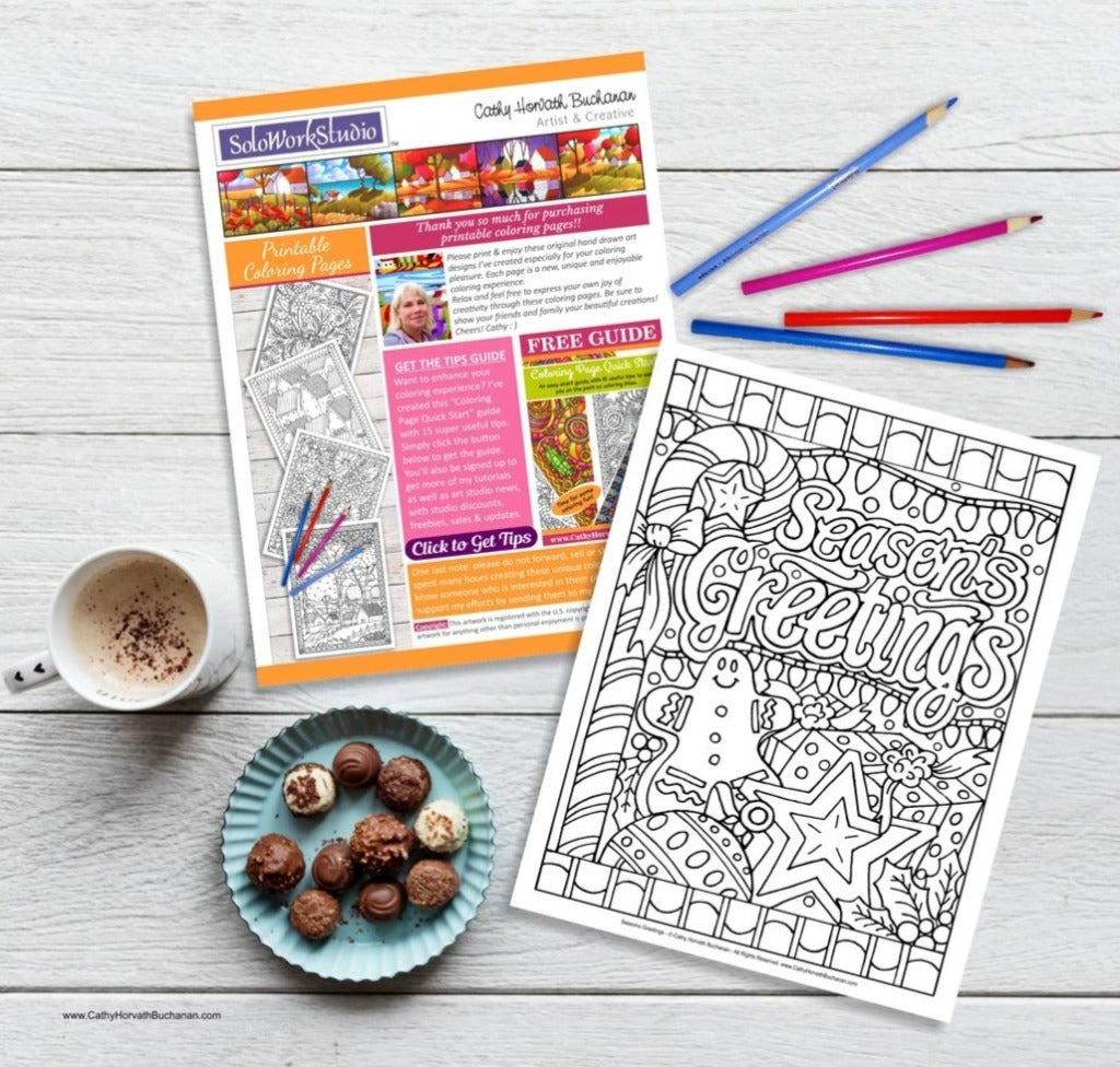 Seasons Greetings Holiday Coloring Page, PDF Download Printable by Cathy Horvath Buchanan