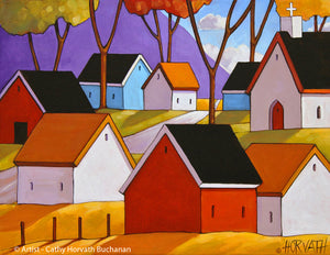 Town Roadway Folk Art Print, Mountain Village Giclee Artwork
