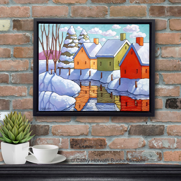 Snow Creek Reflection Framed Original Painting, Folk Art Winter Snow View 11x14