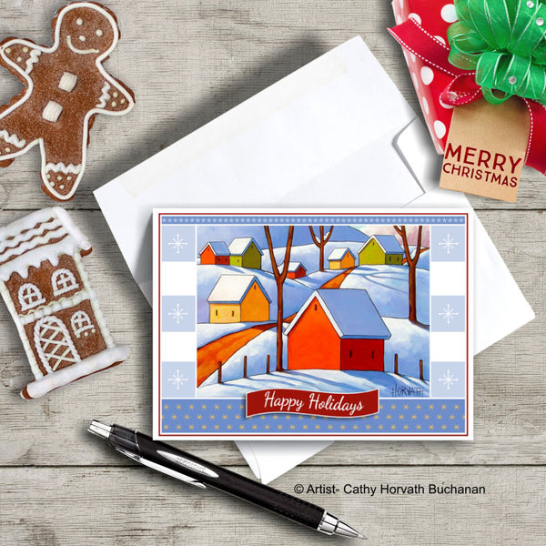Snowy Hills, Christmas Printable Card Kit, PDF Instant Download