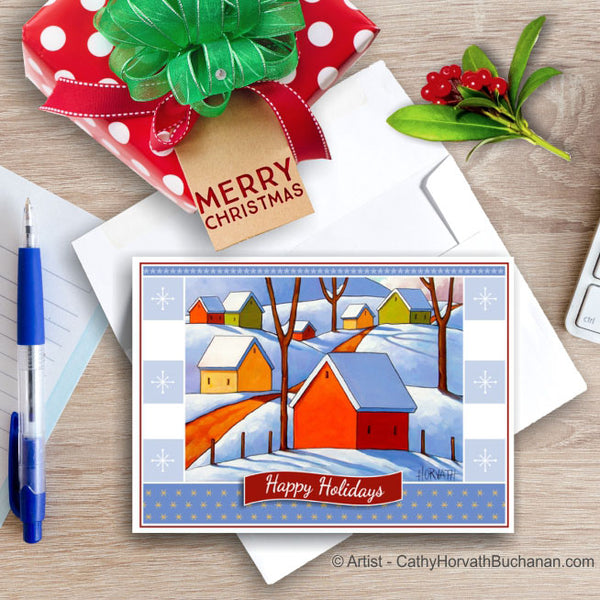 Snowy Hills, Christmas Printable Card Kit, PDF Instant Download by Cathy Horvath Buchanan
