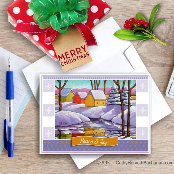 Snowy River, Christmas Printable Card Kit, PDF Instant Download