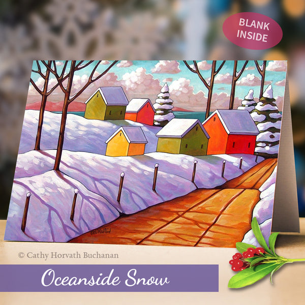 Winter Christmas Holiday Art Cards, 5x7 Snow Scenes Greeting Cards, Set of 8