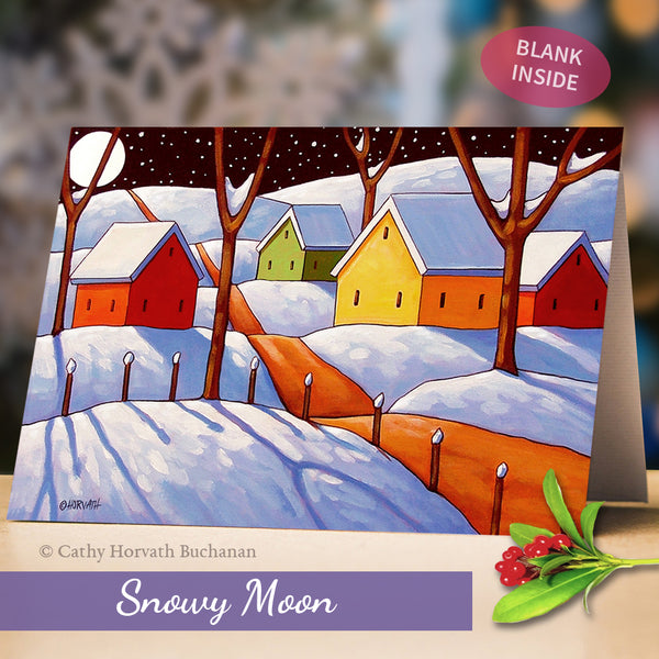 Snowy Holiday Art Cards, 5x7 Winter Scenes Greeting Cards, Physical Set of 4