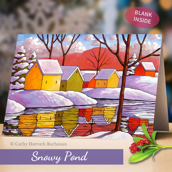 Snowy Scenes Art Cards, 5x7 Greeting Cards, Physical Set of 4