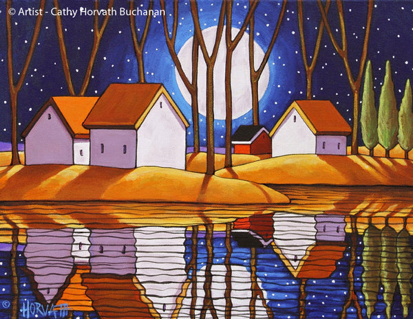 Blue Starry Night Moon Water Reflection Giclee Art Print