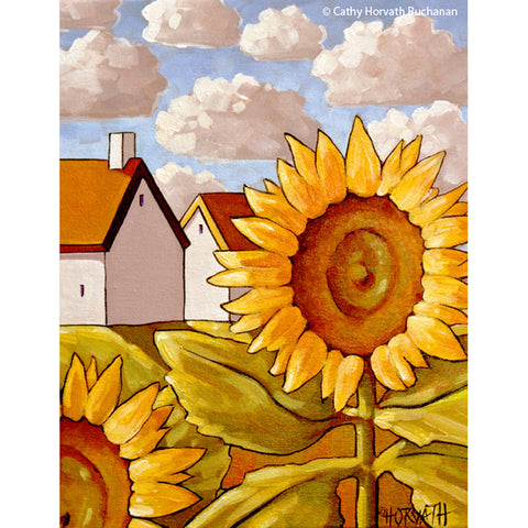 Summer Sunflowers, Floral Garden Folk Art Print, Yellow Flowers Landscape