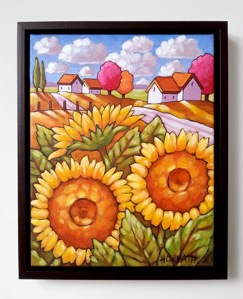Sunflower Original Painting, Summer Yellow Flowers Folk Art Rural Landscape, 11x14