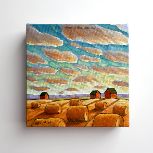 Sunset Sky Hay Rolls - Original Painting by Cathy Horvath Buchanan