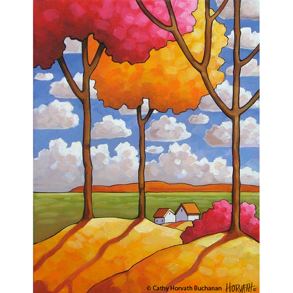 Colorful Trees Blue Sky Clouds, Modern Folk Art Print, Giclee Landscape
