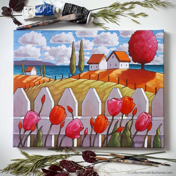 Seaside Tulips Fence Framed Original Painting, Coastal 14x18 by artist Cathy Horvath Buchanan