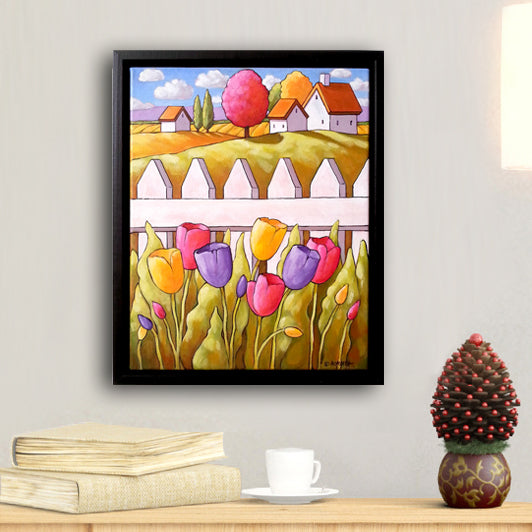 Original Painting Spring Tulip Garden Fence Countryside, Framed 11x14 Artwork