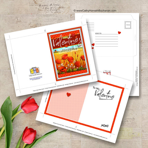 Valentines Printable Card Kit, w insert paper + envelope , PDF Instant Download DIY