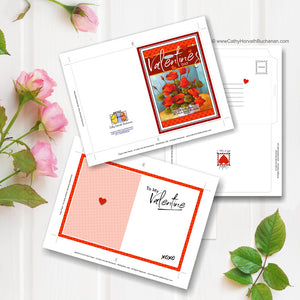 Valentine Flowers Printable Card Kit, w insert paper + envelope, PDF Instant Download