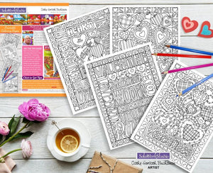 Valentine 4 pack Coloring Pages, Romantic PDF Instant Printable Download Cathy Horvath Buchanan