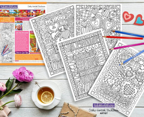Valentine 4 pack coloring heart filled designs. This is a fun romantic coloring set that comes as a PDF instant download so you can start coloring now.