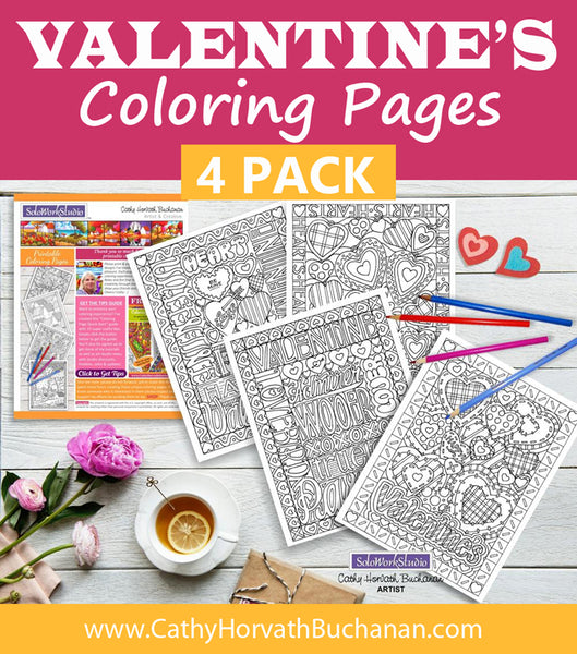Valentine 4 pack Coloring Pages, Romantic PDF Instant Printable Download