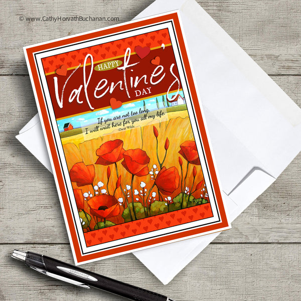 Valentines Printable Card Kit, w insert paper + envelope , PDF Instant Download DIY by Cathy Horvath Buchanan