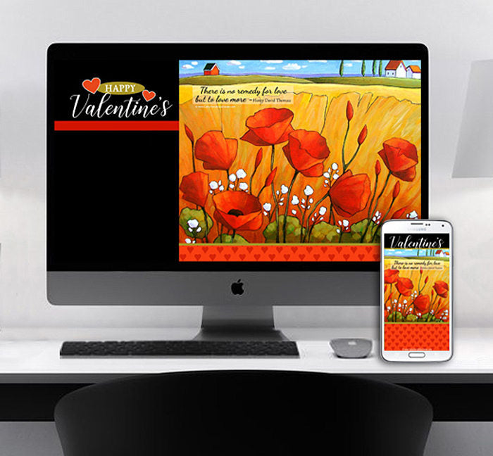 Valentines Day Flowers Digital Wallpaper Art for Devices Desktop Phone