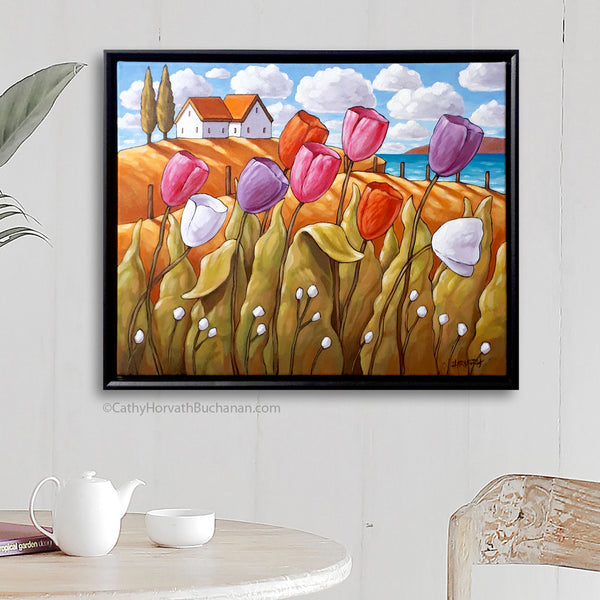 Wild Tulips Waterside Framed Original Painting, Coastal Flowers Landscape 16x20