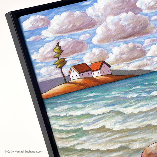 Windy Beach Tree Framed Original Painting, Coastal Seascape 16x20 by artist Cathy Horvath Buchanan