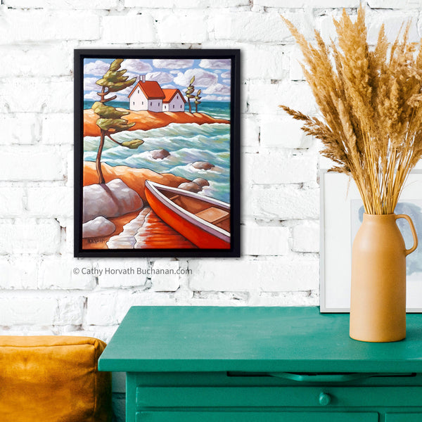 Windy Water Canoe Framed Original Painting, Coastal Seascape 11x14 by artist Cathy Horvath Buchanan