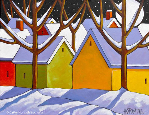 Winter Town Night Art Print, Christmas Eve Snow Giclee