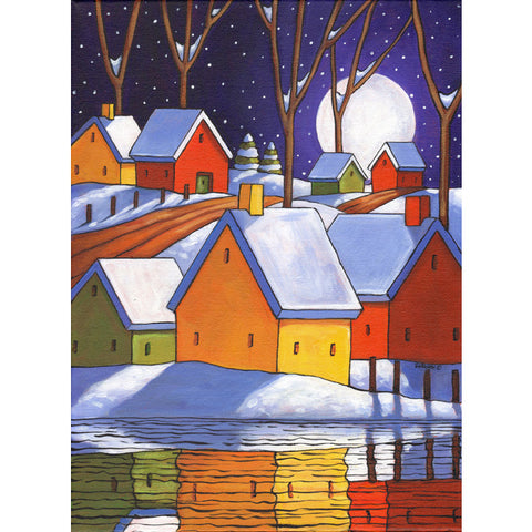 ORIGINAL PAINTING Winter Night Refelctions Folk Art, Christmas Colors Town Artwork 12x16 - SoloWorkStudio  - 1