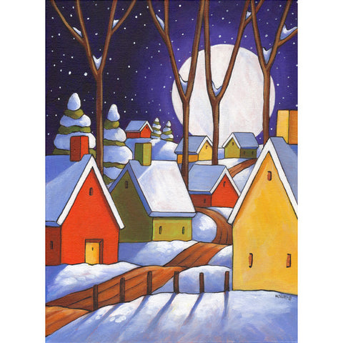 ORIGINAL PAINTING Winter Night Road Folk Art, Christmas Colors Village Artwork 12x16 - SoloWorkStudio  - 1