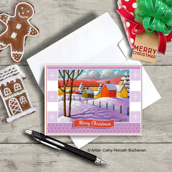 Winter Village, Christmas Printable Card Kit, PDF Instant Download by Cathy Horvath Buchanan