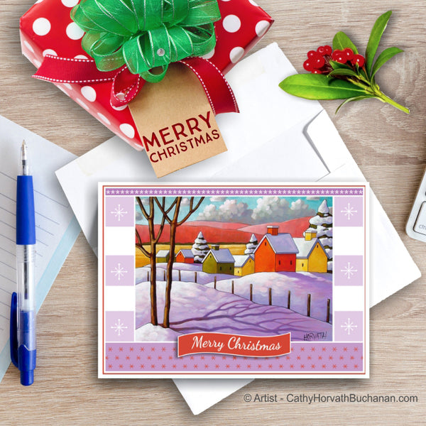 Winter Village, Christmas Printable Card Kit, PDF Instant Download