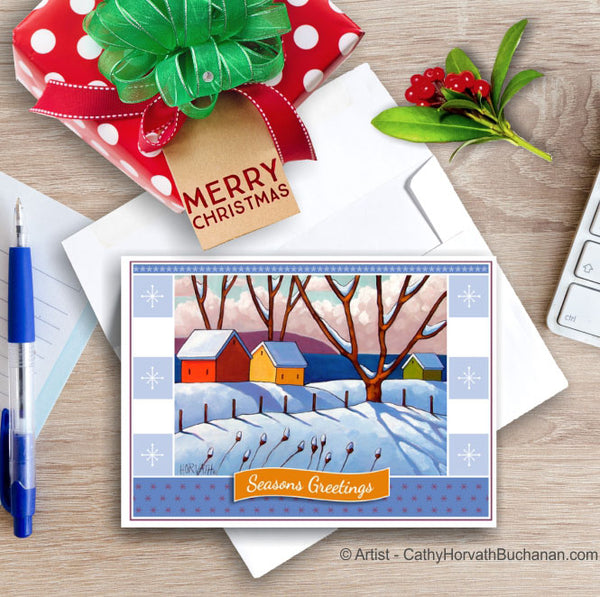 Winter Waterside, Christmas Printable Card Kit, PDF Instant Download