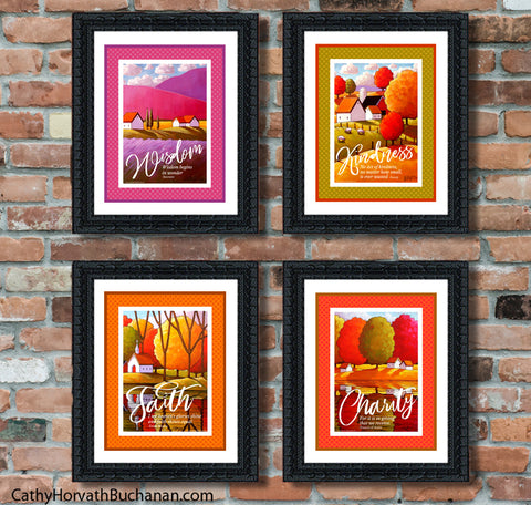 Wisdom collection quote art printables, 4 set wall art decor